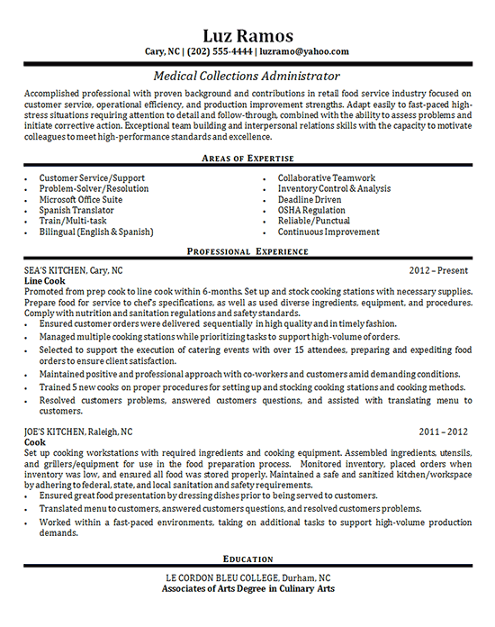 Medical Collections Resume Examples Teaching Resume Healthcare Administration