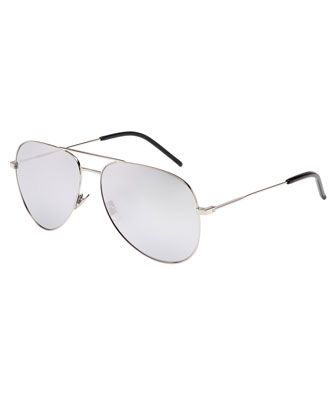 Mirrored+Metal+Aviator+Sunglasses,+Silver+by+Saint+Laurent+at+Neiman+Marcus.