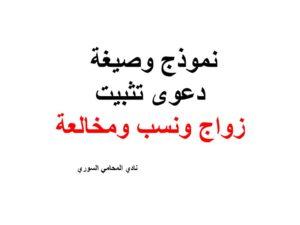 نموذج وصيغة دعوى تثبيت زواج ونسب ومخالعة نادي المحامي السوري Arabic Calligraphy