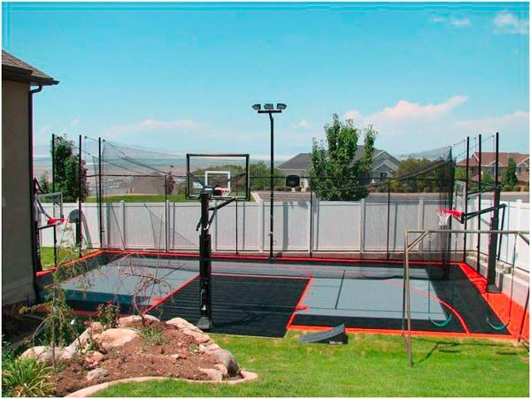 This Area Has So Many Opportunities To Play A Wide Variety Of Games So That Everyone Is Happy Love It Basketball Court Backyard Backyard Basketball Backyard