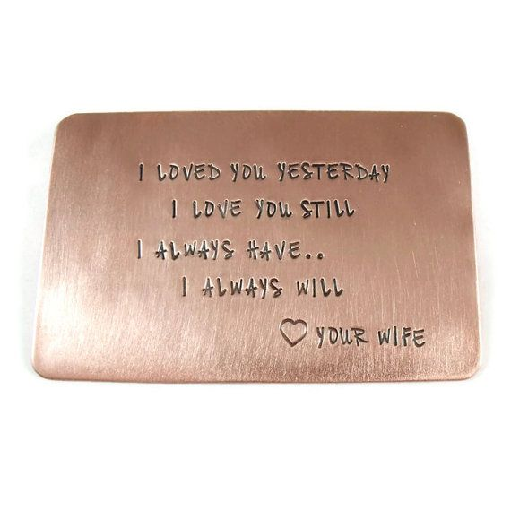 Wedding Anniversary Gift Ideas For Men: Personalized Copper Wallet Insert