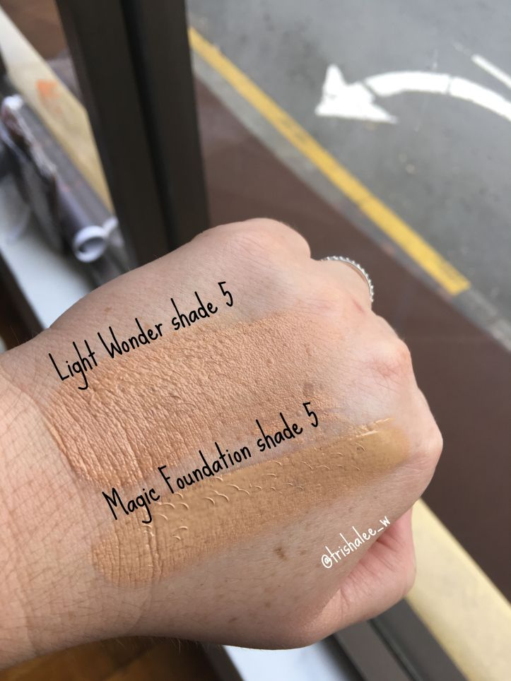 Charlotte Tilbury Light Wonder Foundation Shade 5 compared to ...