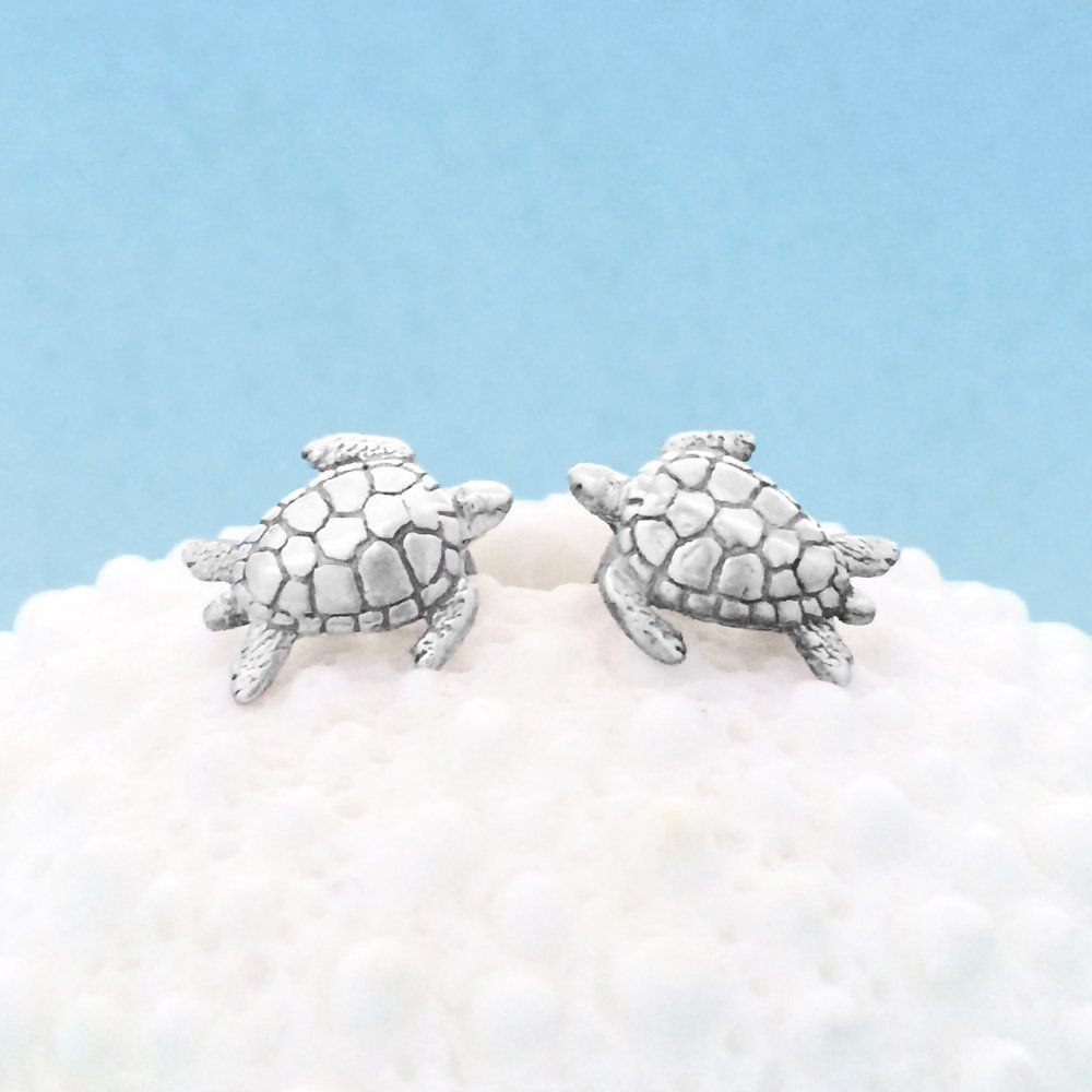 hawaiian stud baby turtle gold solid white products earrings post sea wge honu small petro