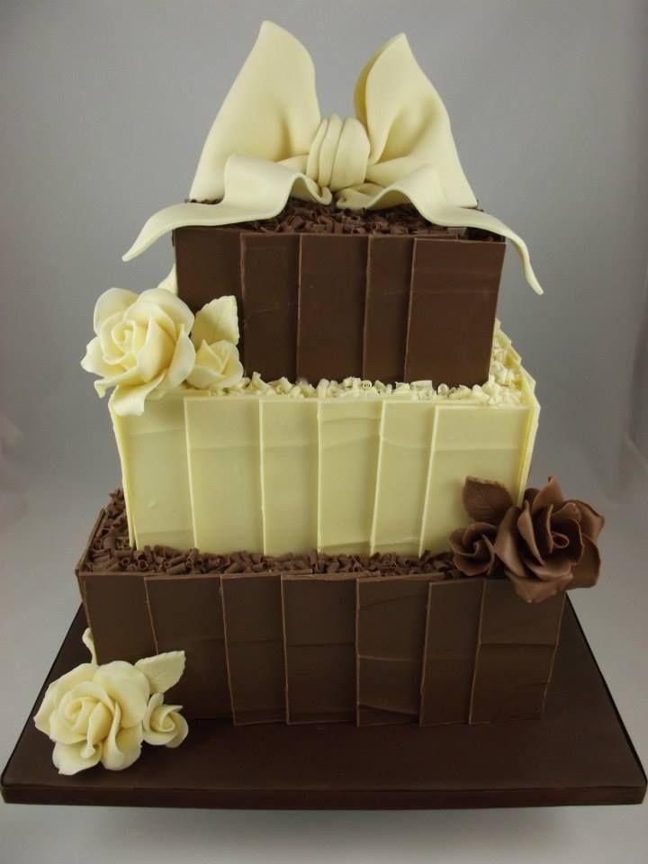 Chocolate shards wedding cake made with belgian chocolate