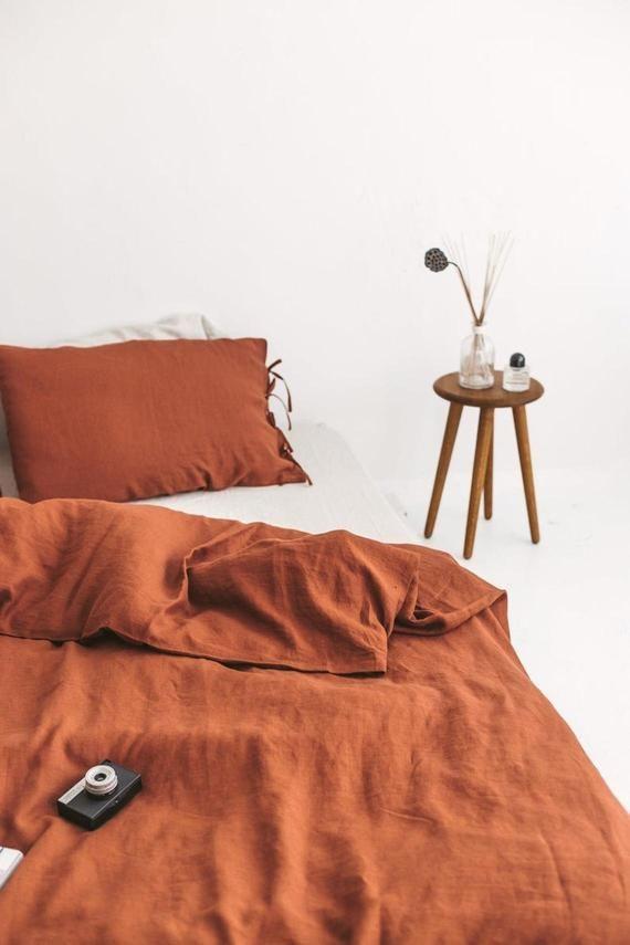 Burnt Orange Color Washed Cotton Duvet Cover Duvet Cover Etsy Orange Duvet Covers Cotton Duvet Cover Linen Duvet Covers