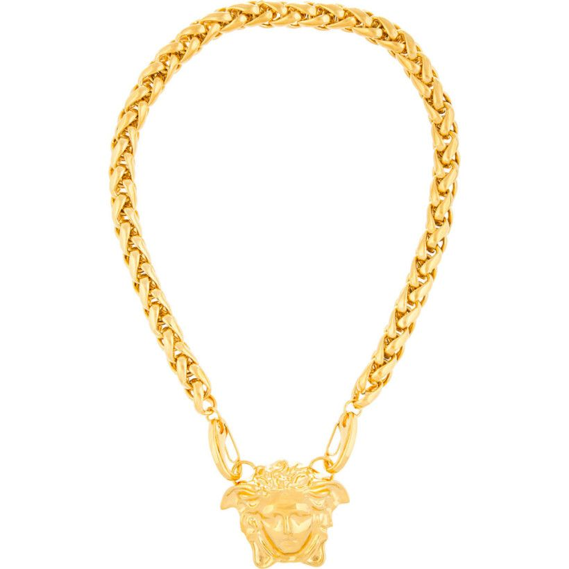 Versace gold oversized medusa pendant necklace favorite looks versace gold oversized medusa pendant necklace mozeypictures Gallery