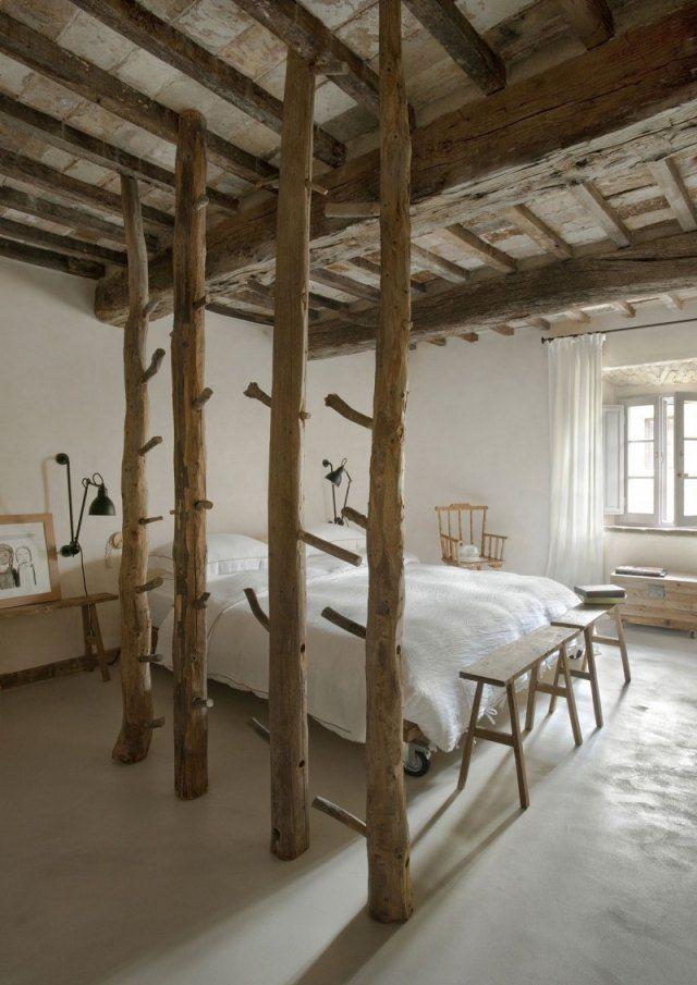 sichtbare decken-holzbalken Schlafzimmer-rustikale Trennwand ...
