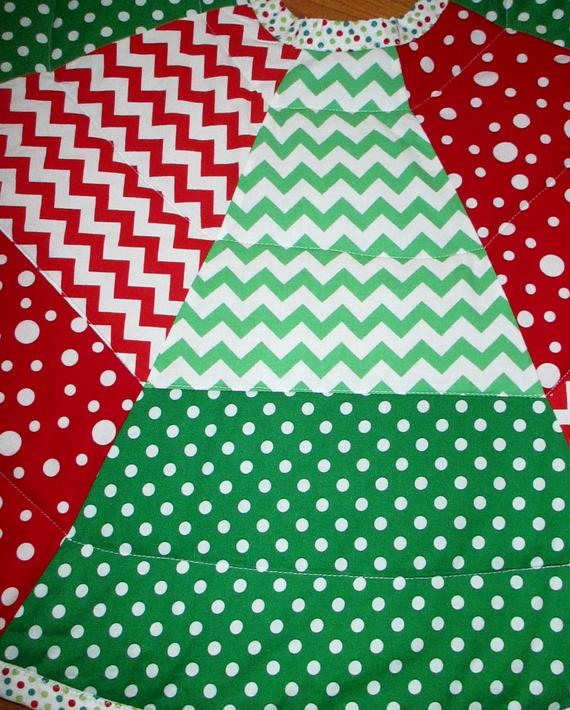 """Quilted Reversible Christmas Tree Skirt 43"""" Circle Green Red Polka Dots Wavy Stripes Chevron ..."""