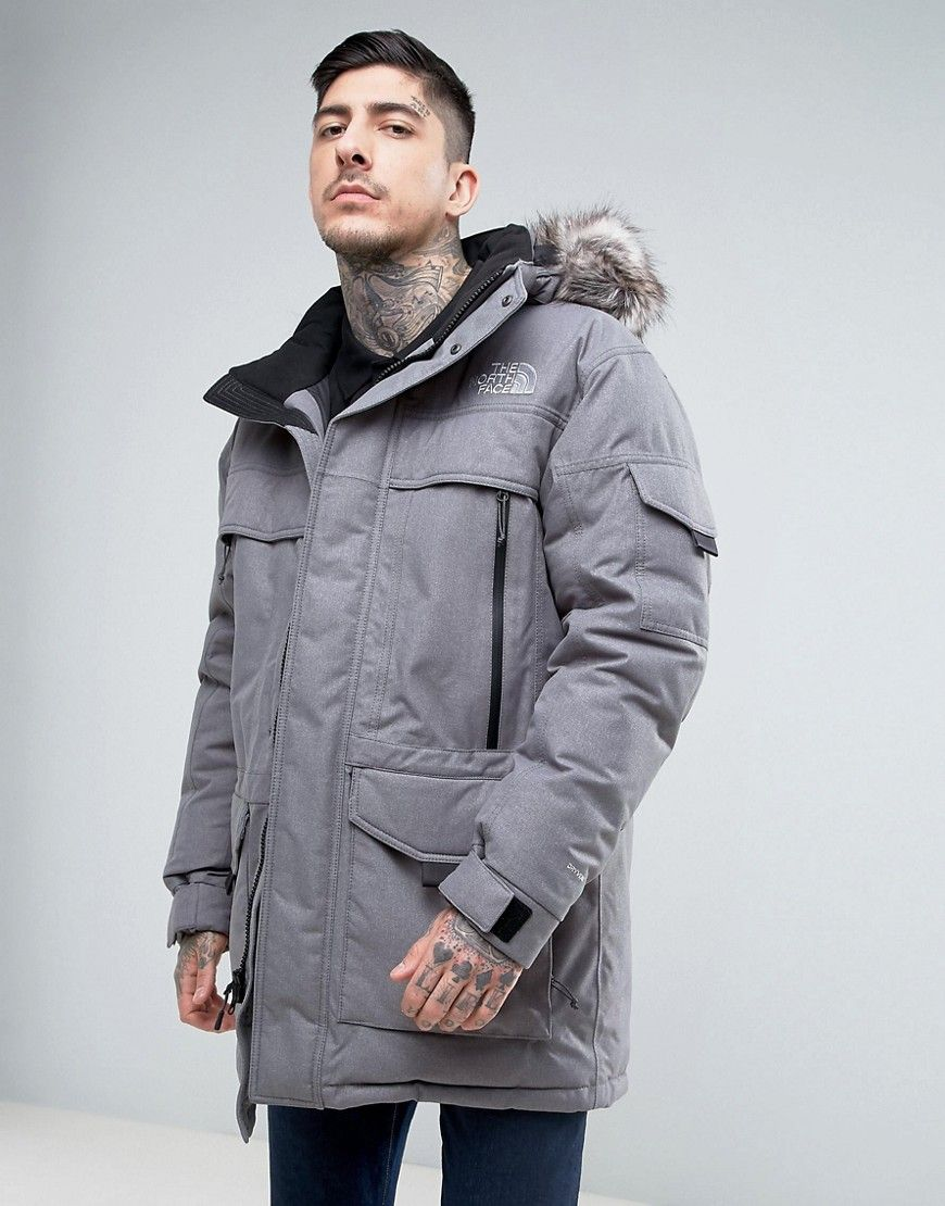 The North Face Mcmurdow Down Insulated Parka Jacket With Detachable Faux Fur Hood In Gray Gray Thenorthface Mens Spring Jackets Parka Jacket Faux Fur Hood [ 1110 x 870 Pixel ]