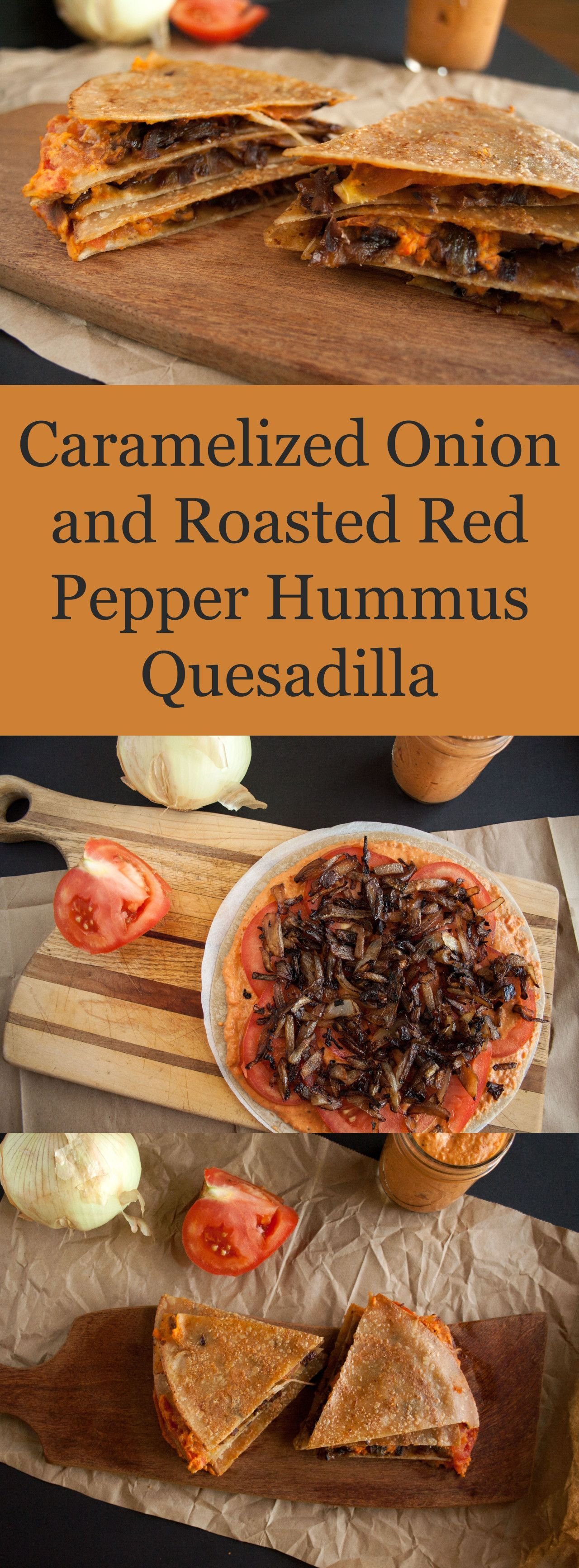 Onion and Roasted Red Pepper Quesadilla (gluten free) - This vegan quesadilla is rich and satisfying - perfect for an appetizer or meal.