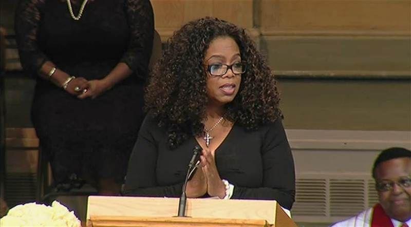Oprah Winfrey speaks at a memorial for Maya Angelou.