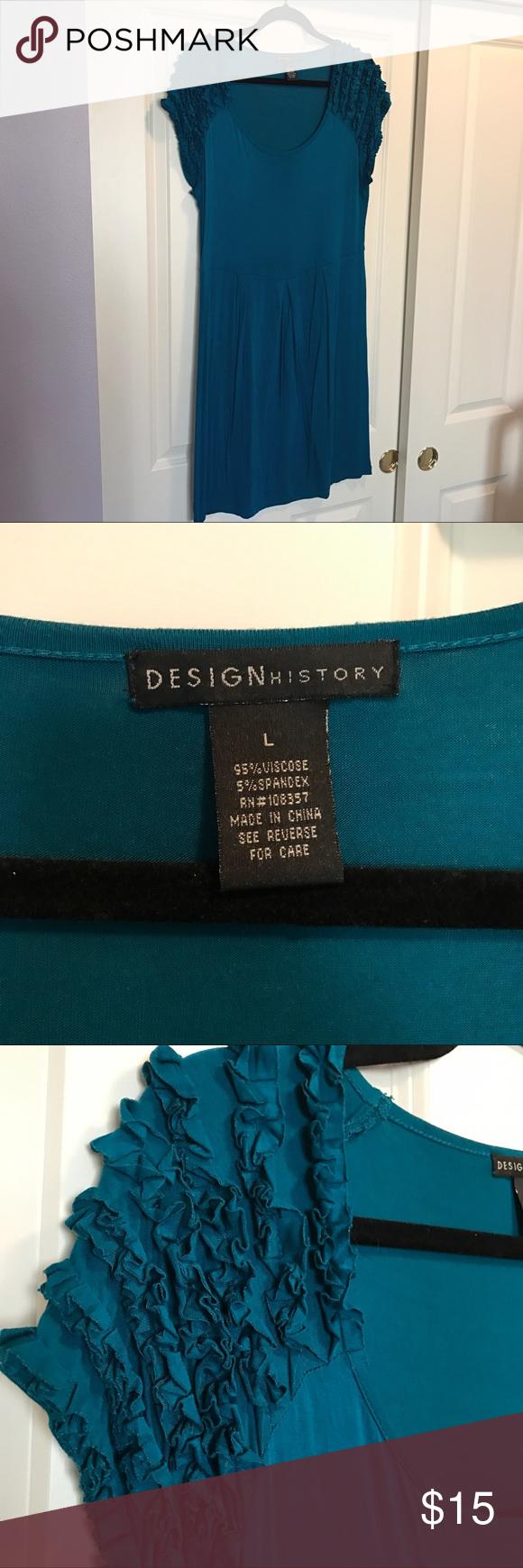 Shirt design history - Design Dark Teal Shirt Sleeve Ruffle Dress