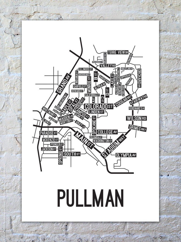 Pullman Washington Street Map Print Wall Art Washington