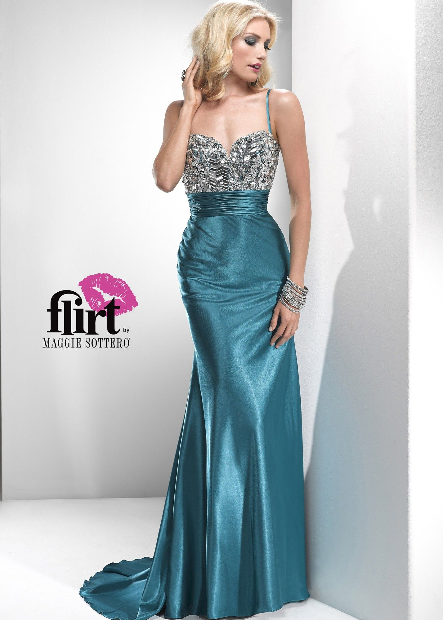 Flirt by Maggie Sottero P2777 - Vintage Teal Satin Evening Gown ...