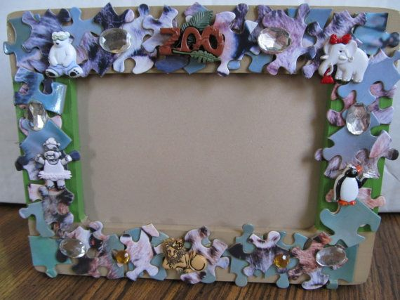 Wood Puzzle Picture Frame by MesheleCrafts on Etsy