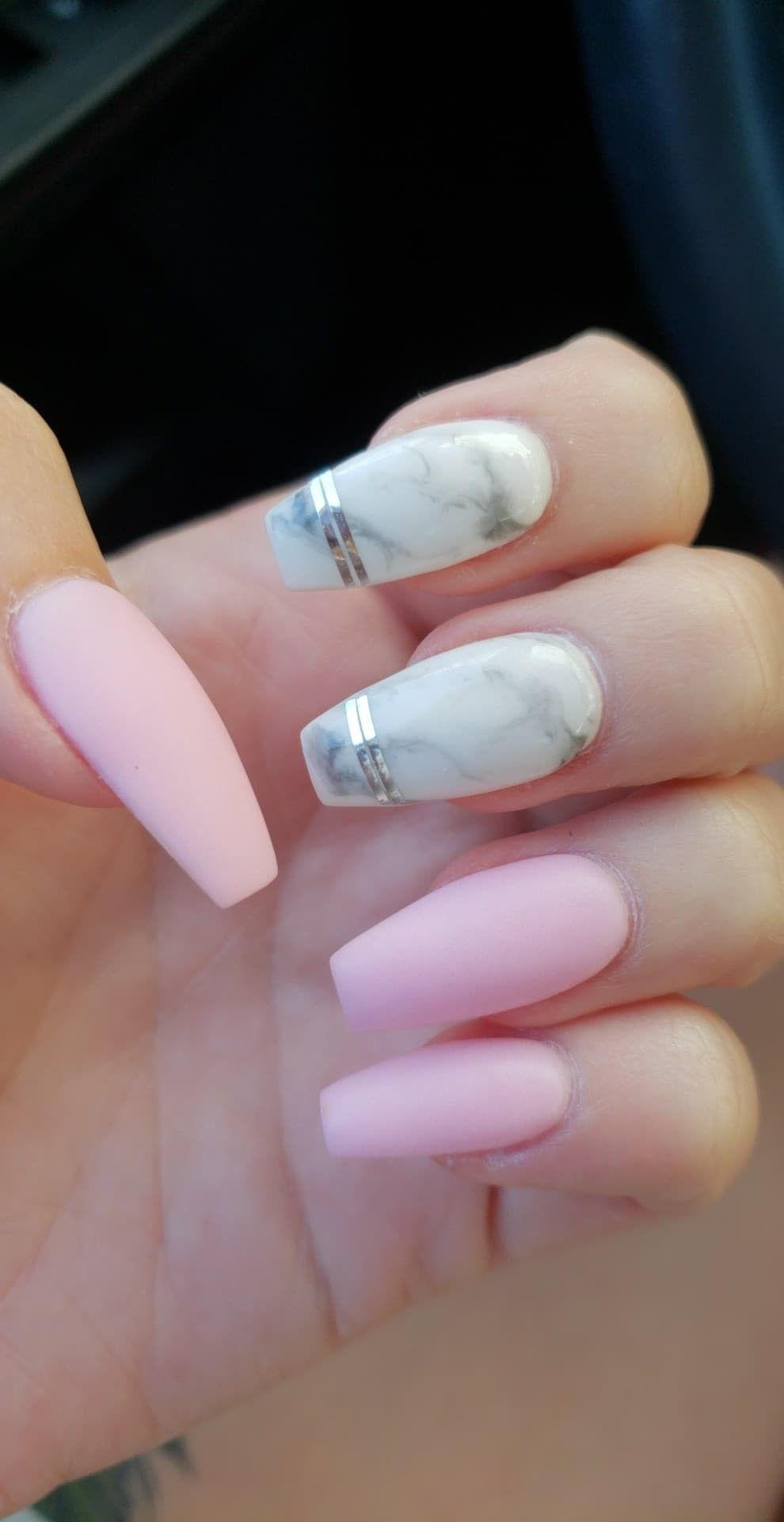 Coffin Marble Nails With Pink Matte Matte Pink Nails Nails Cruise Nails