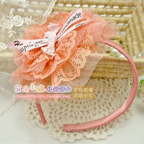 Child accessories sweet big flower female child hair bands headband hair pin baby formal dress yarn hair accessory $4.11