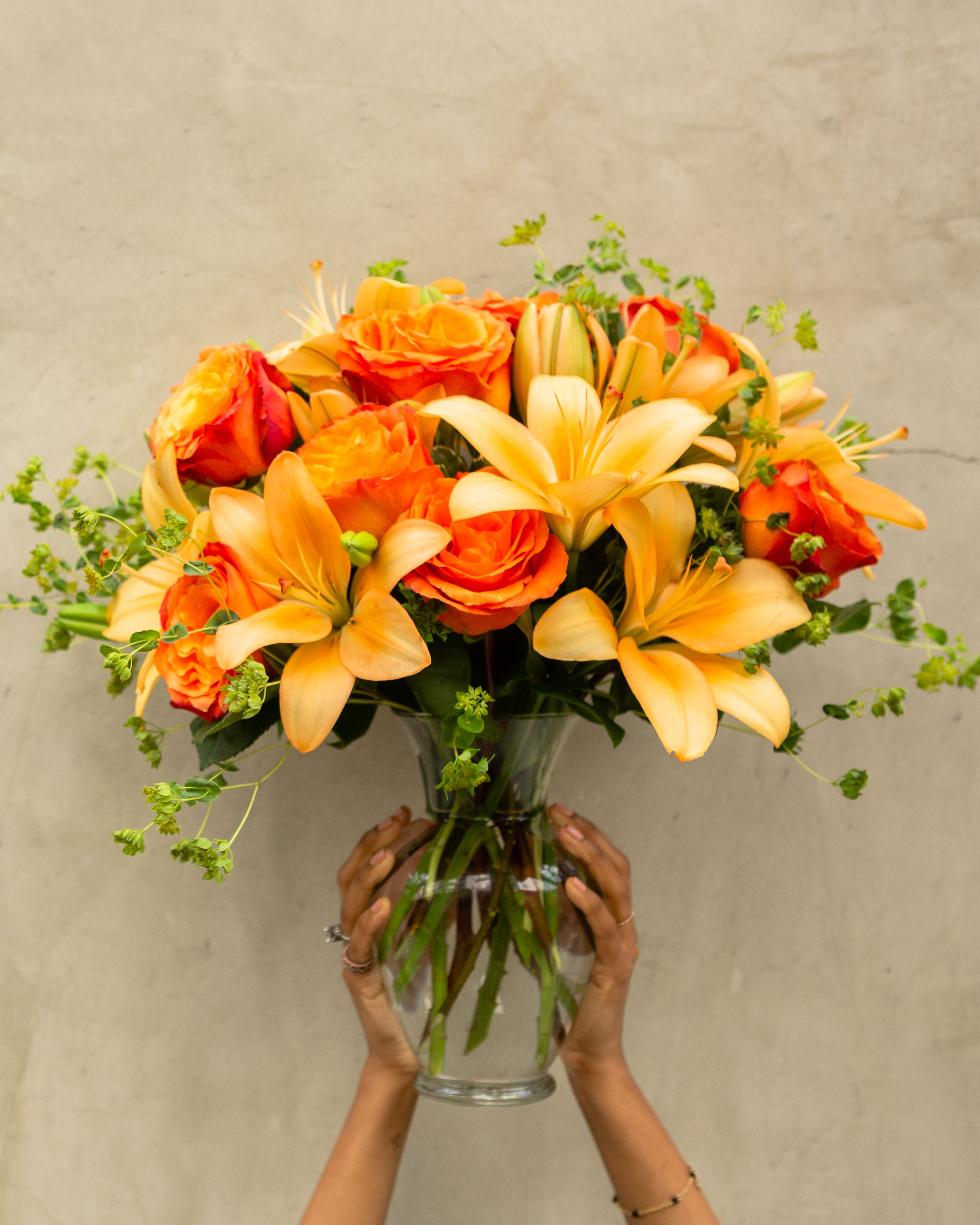 Fiery Lily and Rose Rose bouquet, Fall bouquets, Bouquet