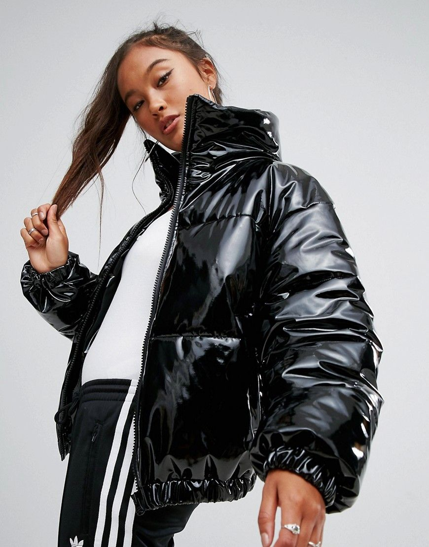 f74d30a53885 ASOS High Shine Patent Puffer Jacket - Black