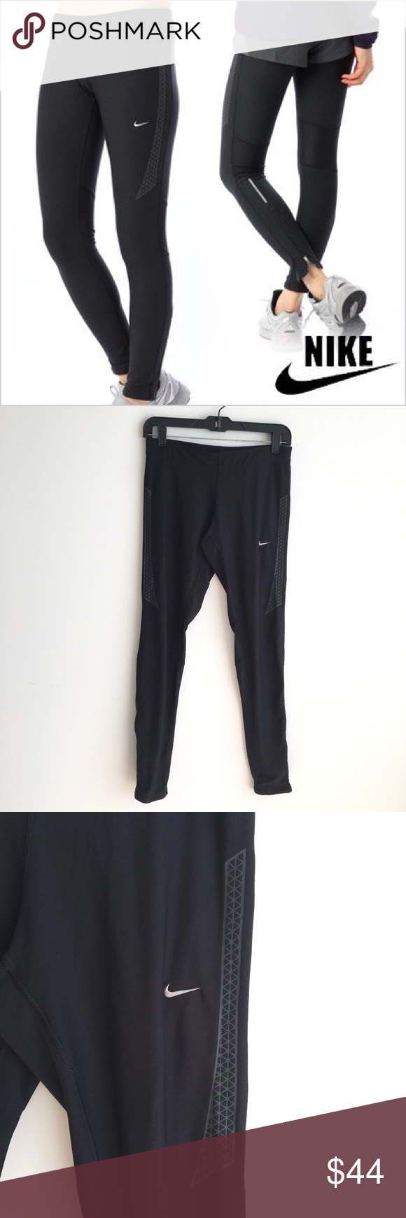 0aa93db004217b Nike Dri-Fit Running Leggings with Zippered Ankle Nike running tights.  Tight fit. Zipper ankles. Zipper pocket on back waistband. Reflective  stripes.
