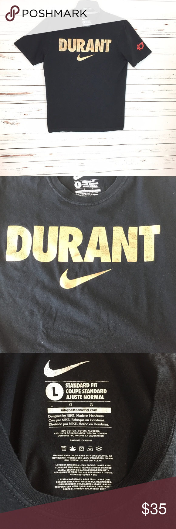 0df6abdab0 Nike Gold Swish Basketball Kevin Durant TShirt 167 Nike Men L Gold Swish  Basketball Kevin Durant