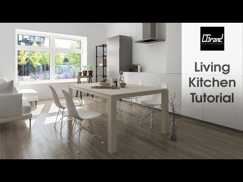 3Ds Max Living U0026 Kitchen Design Tutorial Light 2016+ Photosop [HD]   YouTube
