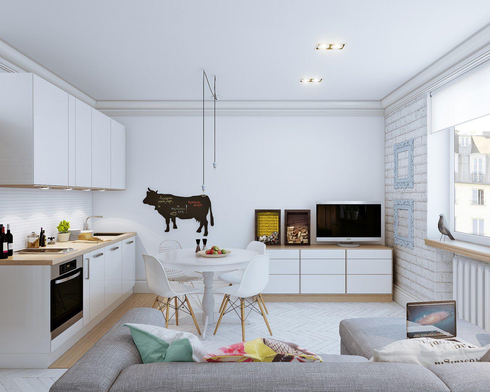 Sala De Jantar Integrada Com A Cozinha Com Decora O Clean Quadros  -> Sala De Jantar Pequena Clean