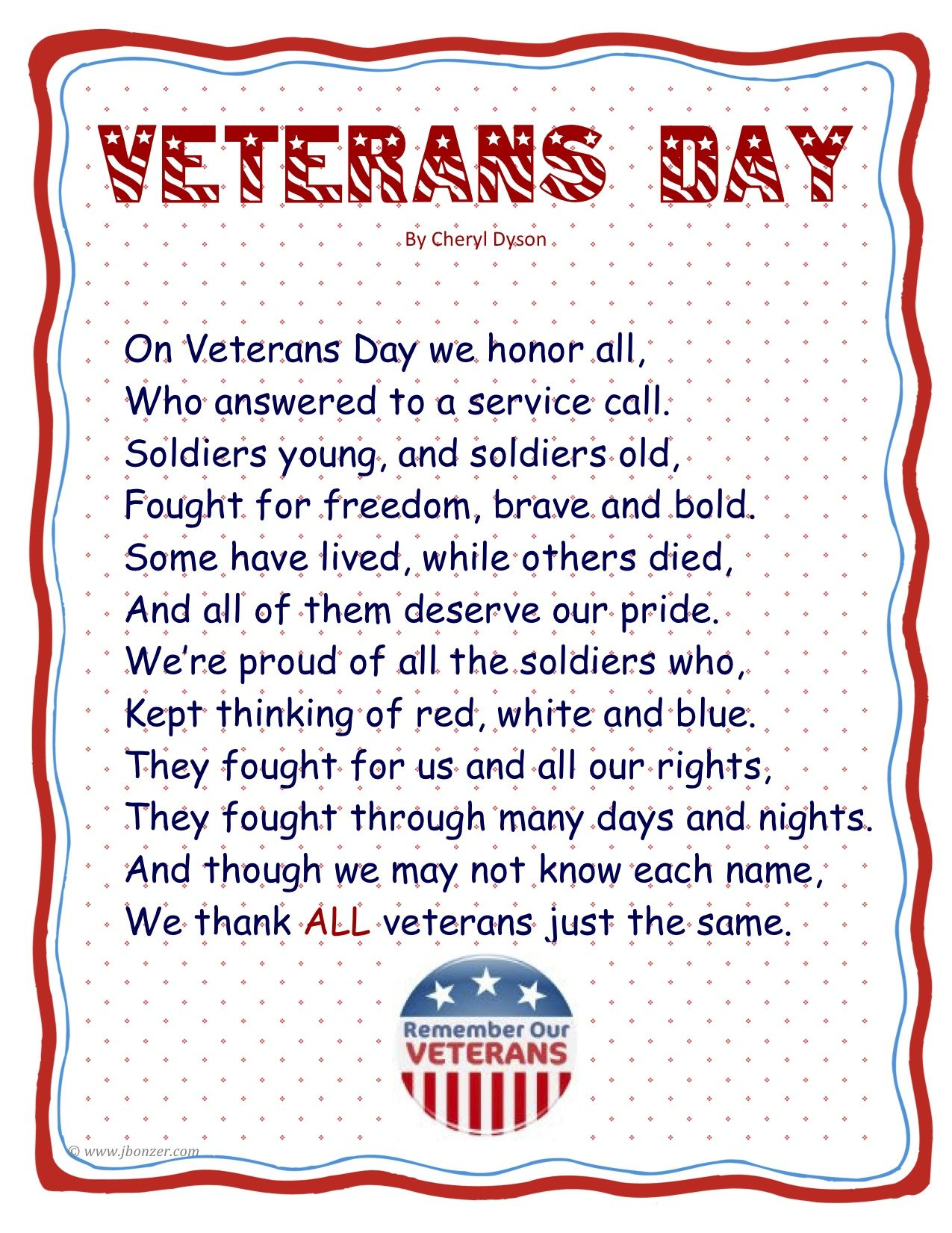 Point of View Books and Veterans Day Lesson Planning - Elementary Nest   Veterans  day poem [ 1651 x 1275 Pixel ]