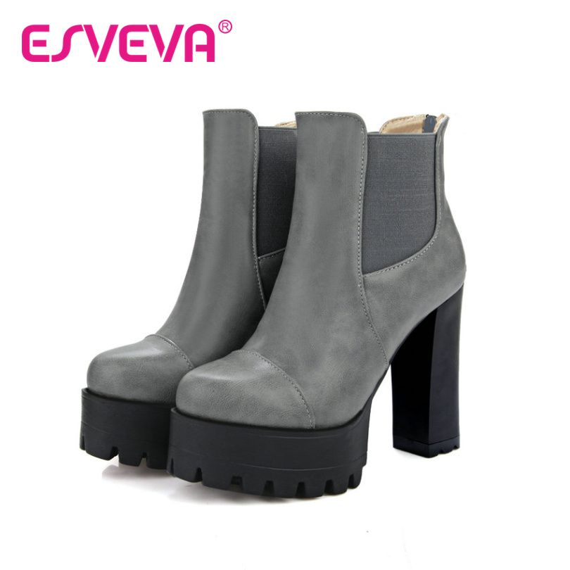 Women's High-Heels Soft Leather Low-Top Solid Zipper Boots with Rivet Black 34