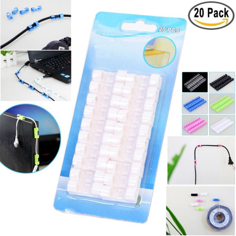 20pcs Self-Adhesive Cable Clips Organizer Drop Wire Holder Cord Management