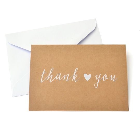 Get the Kraft Thank You Cards & Envelopes By Celebrate It™ at Michaels. com. Thank your guests for being part of your wedding day with these charming cards and envelopes by Celebrate It. Thank your guests for being part of your wedding day with these charming cards and envelopes by Celebrate It. They feature cute little hearts to add that special touch. You can use colored pens to write heartfelt messages on these cards. Details:Kraft and white, 3.5