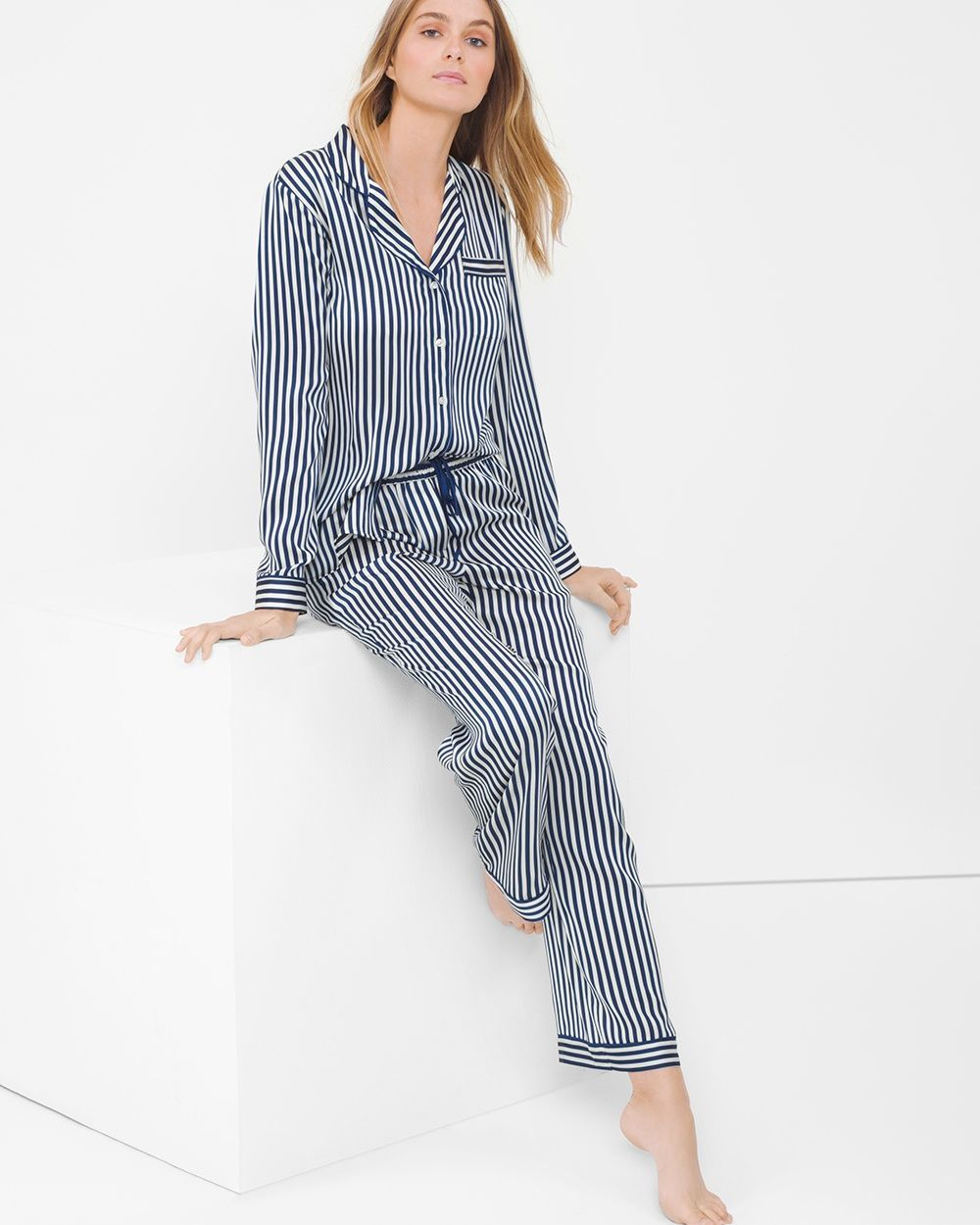 """Soft and comfy—thanks to the elastic waistband—our pajama pants are the next best thing to sleeping in.   Striped pajama pants /li> Elastic waistband with drawstring Approx. 30"""" inseam 100% polyester. Machine wash cold. Imported"""