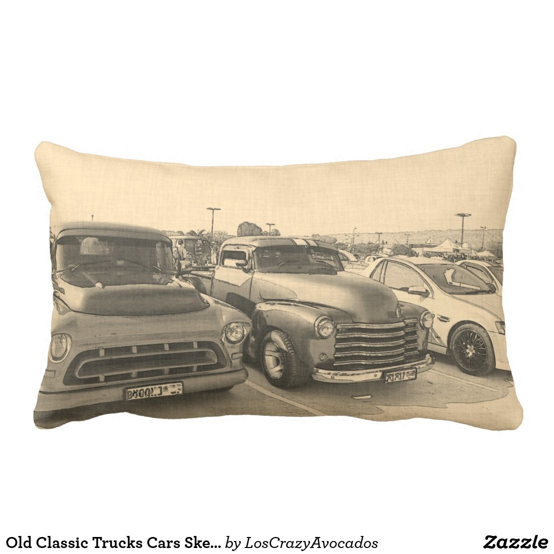 Old Classic Trucks Cars Sketch Throw Pillow | Car sketch, Pillows ...