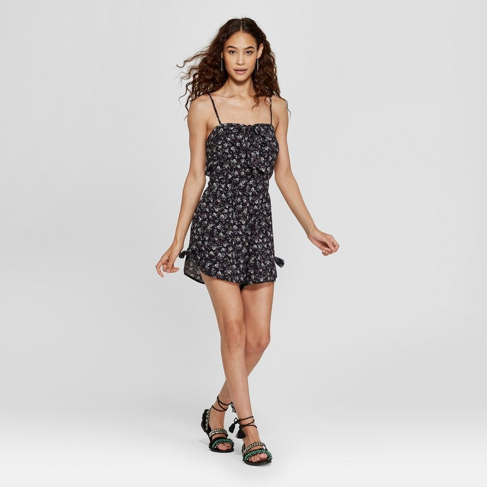 4ecaa70f465 Women s Strappy Tie Front Floral Romper with Side Ties - Xhilaration Black  Xxl
