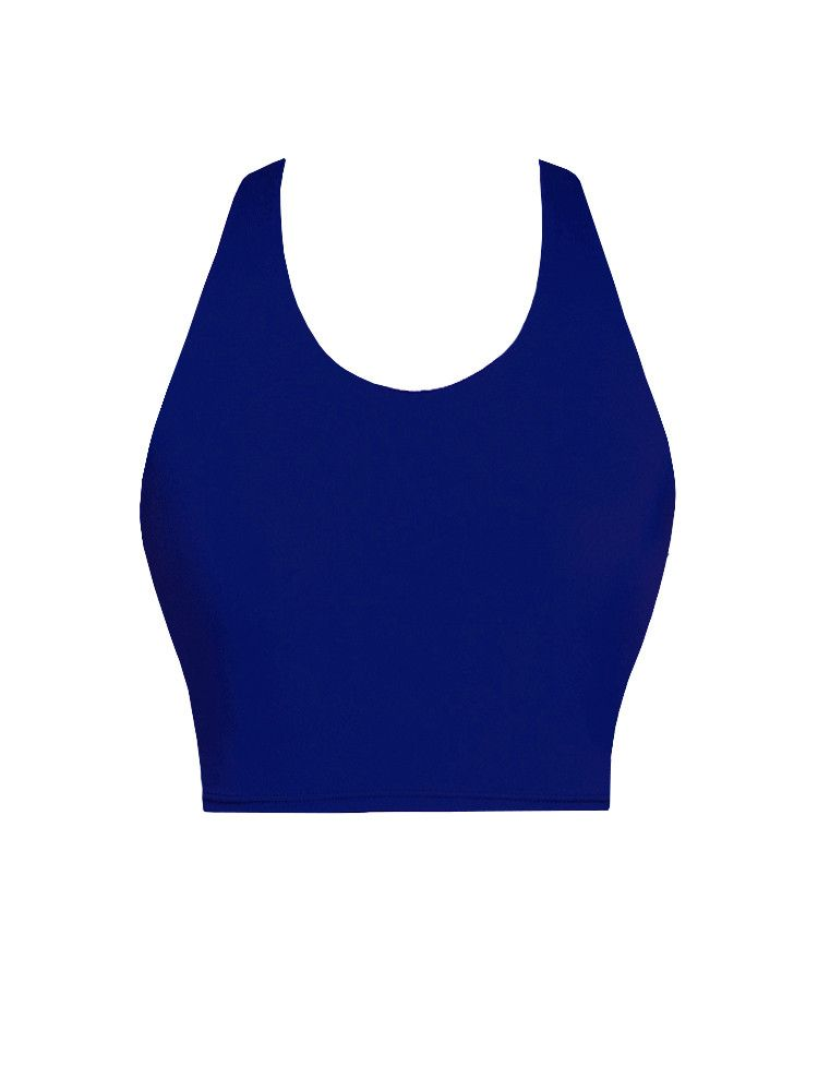 1521fc05c2e80 Crop Top with Shelf Bra in  Solid Royal
