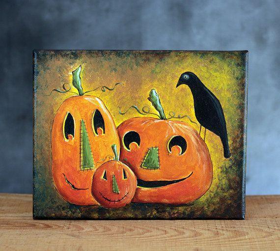 Halloween Art - Folk Art Painting - Pumpkin Trio with Crow - Halloween Decor - Original Art