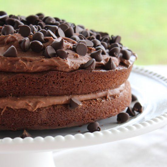A must try chocolate cake recipe that includes sour cream and coffee.