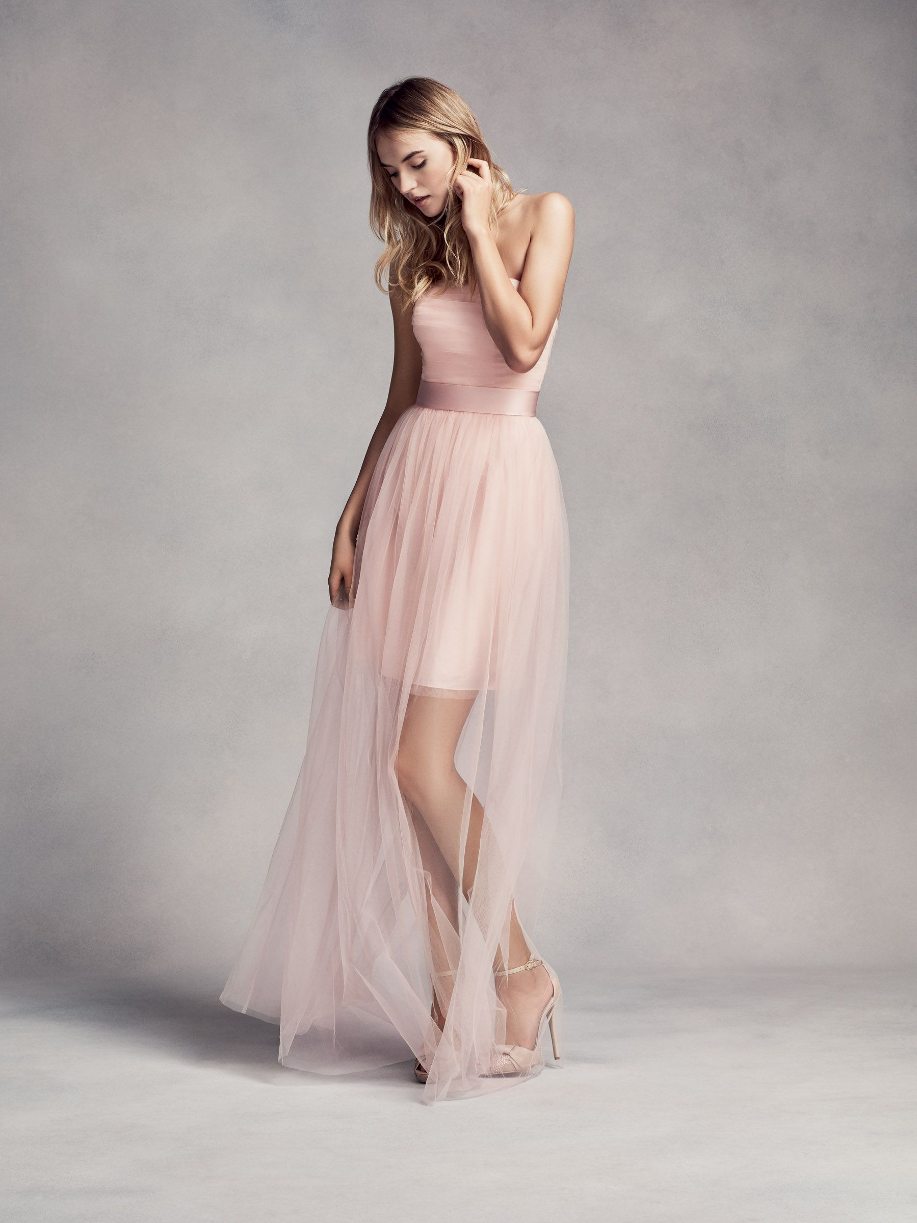 A Blush Pink Bridesmaid Dress With A Long Sheer Overlay By White X
