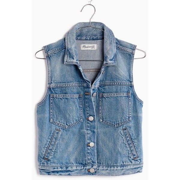 MADEWELL The Pocket Jean Vest (260 BRL) ❤ liked on Polyvore featuring outerwear, vests, tops, tops/outerwear, langley wash, embroidered vest, cropped vests, blue vest, pocket vest and madewell