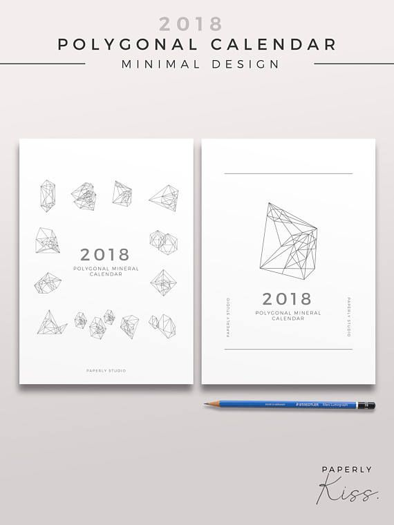 2018 polygonal mineral calendar minimal printable wall calendar
