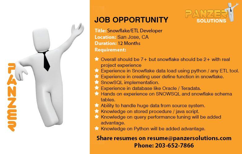 Job Title Snowflake/ETL Developer Location San Jose