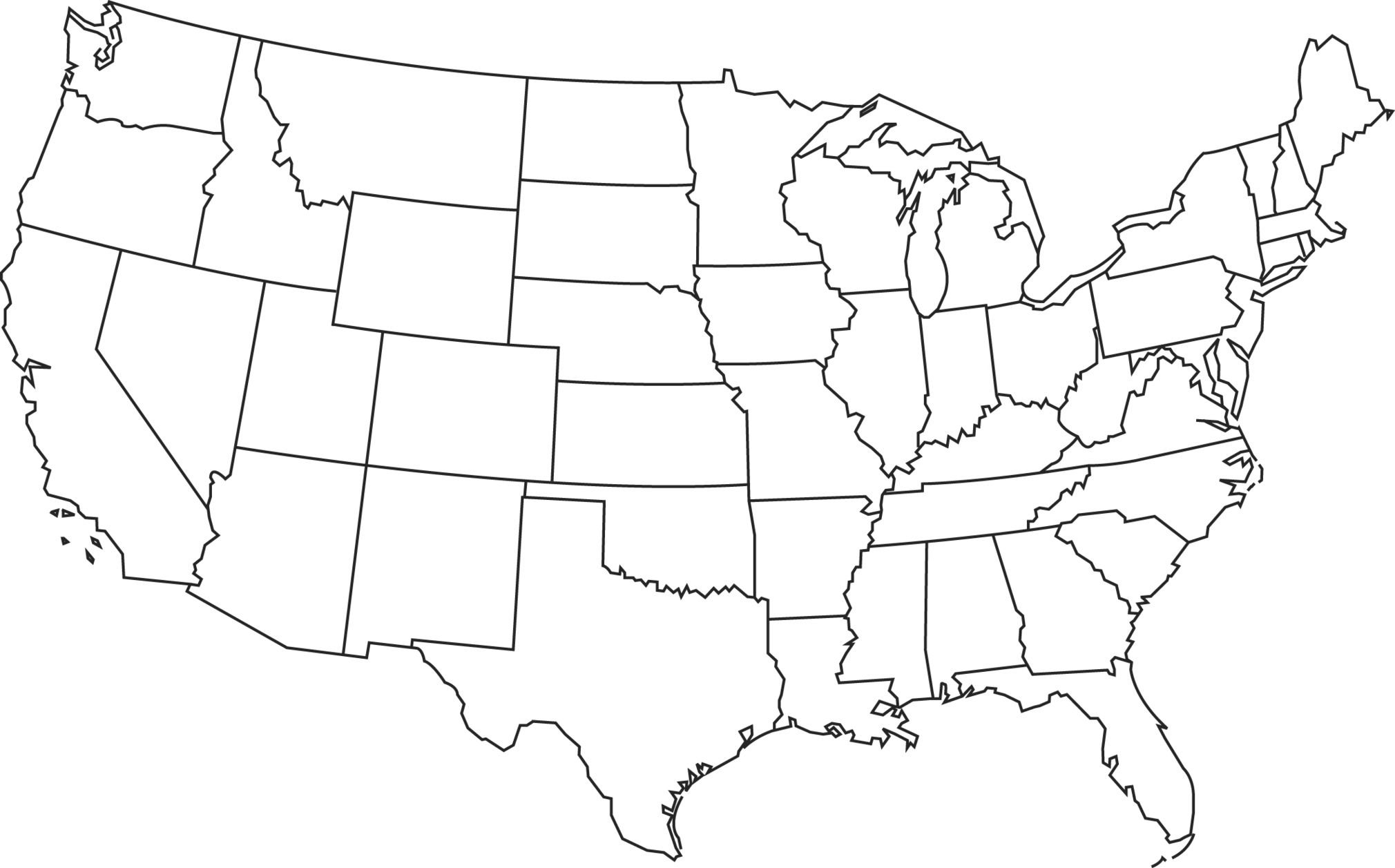 Black And White Map Of The Us America Map Black And White American Map Usa Outline Map Of The