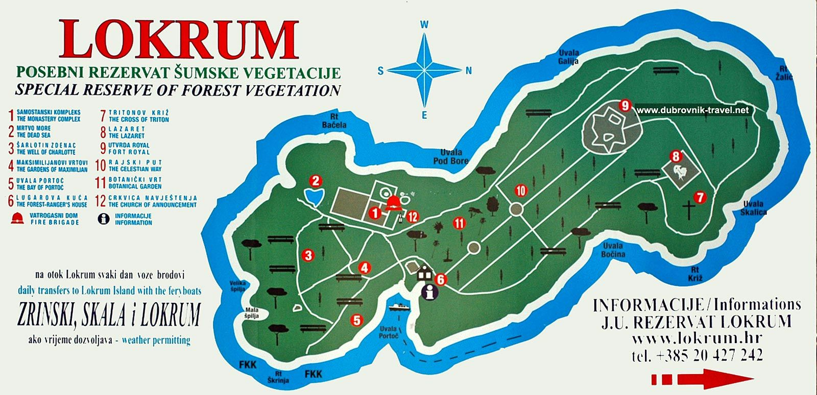 Map Of Lokrum Small Island In Vicinity Of Dubrovnik Http Www Dubrovnik Travel Net Lokrum Island Lokrum Map1 Lokrum Island Croatian Islands Croatia Tourism