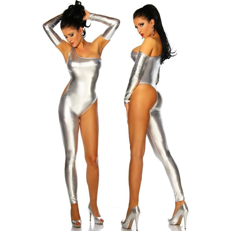 Pole Dance One Shoulder Sleeveless Silver Hot Erotic Catsuit Spandex ...