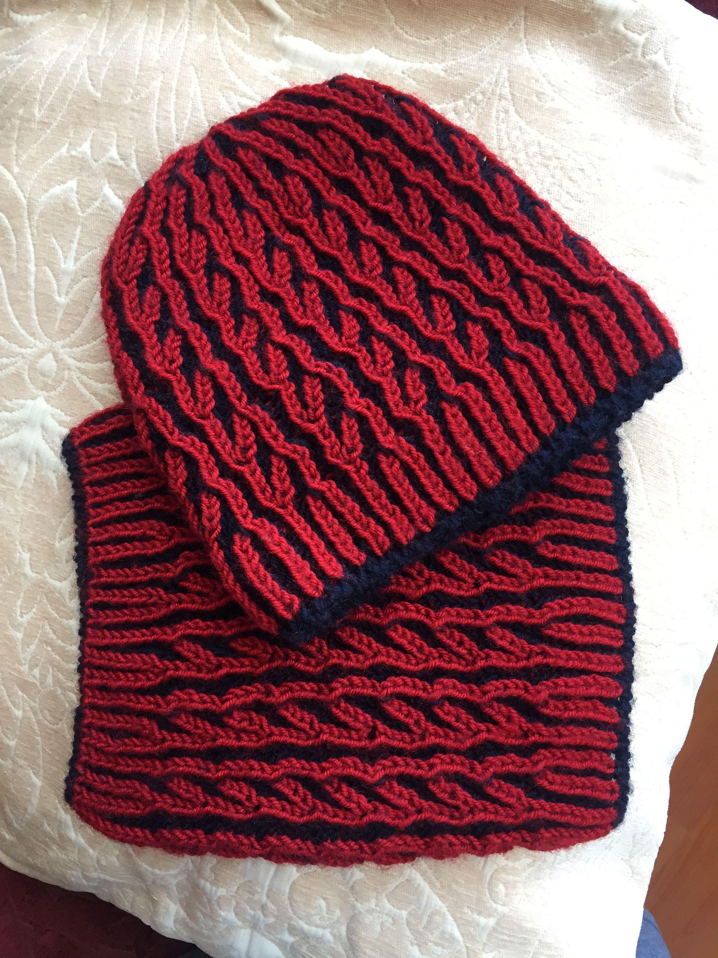 Red&Navy Blue Brioche Knitting | sal modelleri | Pinterest | Brioche ...