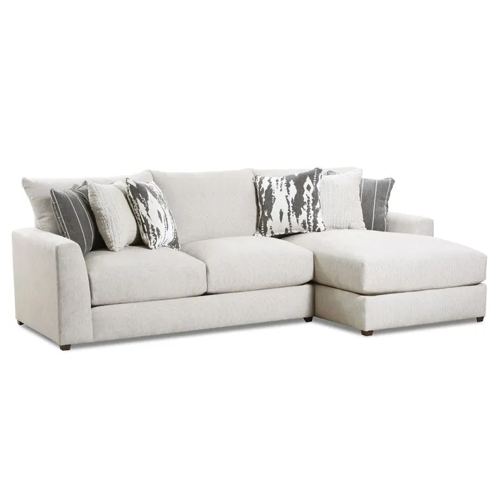 Emperor Ivory Chenille Right Facing Sofa Chaise Chaise Sofa