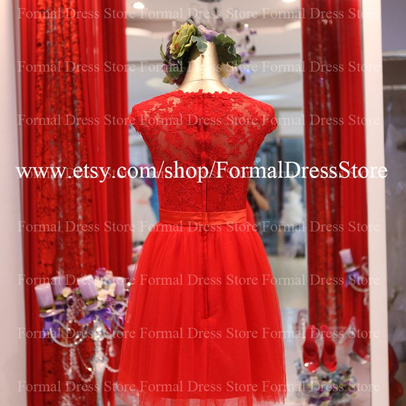 Custom Short Bridesmaid Dress Lace Bridesmaid by FormalDressStore, $129.00