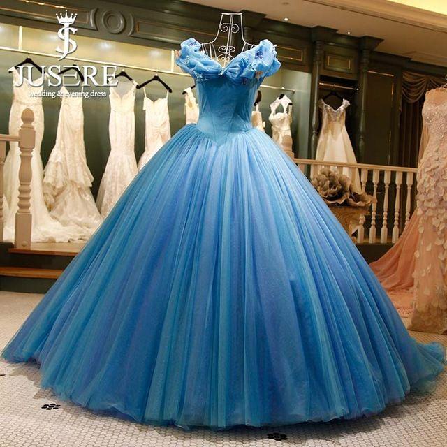 Online-Shop Jusere Individuelle Echt Bild Cinderella Blau Ballkleid Kleider Stickerei Puffy bodenlangen Kleid High End Abendkleider | Aliexpress Mobile
