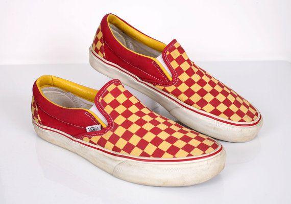 vans checkerboard slip on yellow