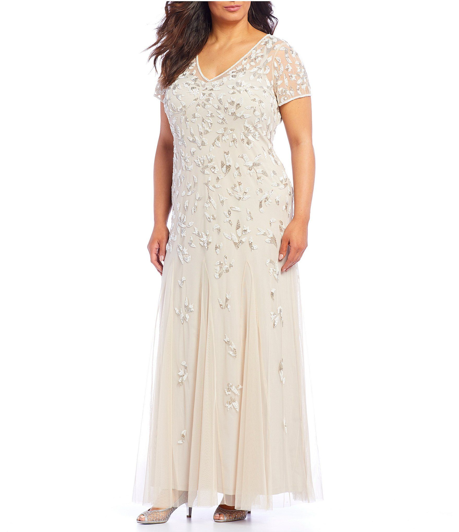Shop For Adrianna Papell Plus Size Beaded Short Sleeve Long Gown At Dillards Com Visit Dillards Com To Find C Dillards Wedding Dresses Long Gown Dress Gallery
